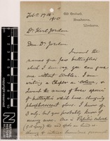 Sent by Alfred Russel Wallace to Heinrich Ernst Karl Jordan on 17 February 1910.