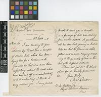Letter from Charles Barber to William Watson; from London Jute Association, 21 Mincing Lane, London; 10 Sep 1908; two page letter comprising one image; folio 279