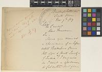 Letter from Herbert C. Spry to John Reader Jackson; from Budleigh Salterton, South Devon, [England]; 7 Nov 1887; four page letter comprising two images; folio 835