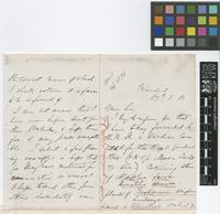 Letter from H.[Henry] Prestoe to The Royal Botanic Gardens, Kew; from Trinidad; 27 Mar 1881; three page letter comprising two images; folio 546