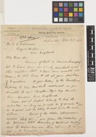 Letter from F.S.[Franklin Sumner] Earle to E.S.[Ernest Stanley] Salmon; from Department of Biology and Horticulture, Agricultural Experiment Station, Alabama Polytechnic Institute, Auburn, Alabama, [United States of America]; 29 Nov 1898; two page letter comprising two images; folio 123