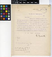 Letter from Dr. R. Marloth to Sir David Prain; from Cape Town, South Africa; 26 Oct 1909; one page letter comprising one image; folio 209