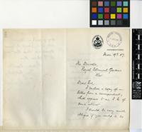 Letter from E. Warren to Sir David Prain; from The Government Museum, Pietermaritzburg, Natal; 9 March 1907; four page letter comprising two images; folio 289