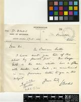 Letter from D. Brodie to Sir Arthur William Hill; from the Bank of Abyssinia, Addis Ababa; 17 Nov 1923; one page letter comprising one image; folio 20