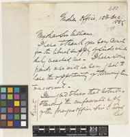 Letter from J.[John] Forbes Watson to Sir William Jackson Hooker; from India House; 13 Dec 1859; two page letter comprising two images; folio 483