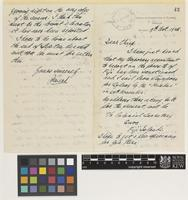 Letter from J.P.[John Phillips] Mead to Thomas Ford Chipp; from Office of Conservator of Forests, Sarawak, [Malaysia]; 9 Oct 1926; four page letter comprising two images; folio 43