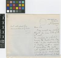Letter from Courtney V. Trower to Sir David Prain; from United Service Club, Pall Mall, London; 16 Jan 1910; three page letter comprising two images; folio 357