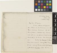 Letter from Robert Swinhoe to Sir Joseph Dalton Hooker; from 33 Oakley Square, Chelsea, [England]; 5 Oct 1869; three page letter comprising two images; folio 961a