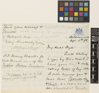 Letter from M.E.[Mountstuart Elphinstone] Grant Duff to Sir William Thiselton-Dyer; from Government House, Ootacamund [Udagamandalam, India]; 11 Sep 1886; four page letter comprising two images; folio 415