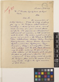 Letter from August Loher to Sir William Thiselton-Dyer; from Apothecary, Simbach am Inn, Neiderbaiern [Neiderbayen, Germany]; 6 June 1897; two page letter comprising two images; folios 416 – 417