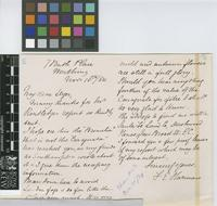 Letter from F.E. Harman to Sir William Thiselton-Dyer; from 7 Bath Place, Worthing; 16 Nov 1884; two page letter comprising one image; folio 46
