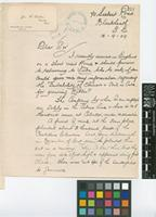 Letter and business card from James F. Gritton to Sir David Prain; from Siebert road, Blackheath, London; 12 Sep 1909; two page letter comprising two images; folio 251