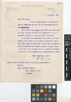 Letter from W.[William] Harris to Sir David Prain; from Department of Agriculture, Hope Gardens, Kingston P.O., Jamaica; 2 Oct 1914; one page letter comprising one image; folio 320