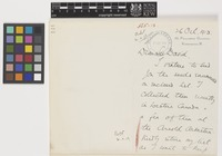 Letter from F.R.S.[Frederick Robert Stephen] Balfour to Sir David Prain; from 39 Phillimore Gardens, Kensington, London, [England]; 26 Oct 1913; two page letter comprising two images; folio 144