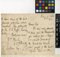 Letter from A. G. Blandy to W. Watson; from Quinta de Sta. Luzia, Madeira; 9 May 1887; four page letter comprising two images; folio 3