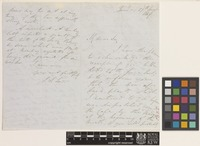Letter from J.S.[John Sutherland] Law to the Royal Botanic Gardens, Kew; from Tanna, [India]; 27 Aug 1847; four page letter comprising two images; folio 288