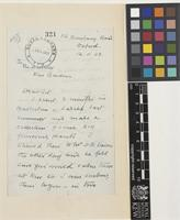 Letter from B.B.[Bertram Beresford] Osmaston to Sir Arthur William Hill; from 116 Banbury Road, Oxford, [England]; 12 Nov 1928; three page letter comprising two images; folio 321