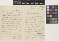 Letter from Dr [Karl von] Scherzer to [Edward Sabine]; from Ministry of Commerce, Vienna, [Austria]; 14 Aug 1868; four page letter comprising two images; folio 288
