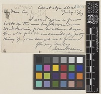 Letter from Sereno Watson to Sir William Thiselton-Dyer; from Cambridge, Massachusetts, [United States of America]; 27 July 1887; two page letter comprising two images; folio 1200