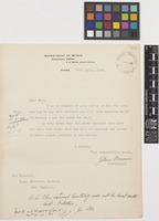 Letter from John Macoun to Sir David Prain; from Department of Mines, Geological Survey, Ottawa, [Canada]; 30 Apr 1908; one page letter comprising one image; folio 90