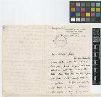 Letter from R.L.[Robert Louis] Proudlock to Sir David Prain; from Government Botanic Gardens and Peaks, The Nilgiris, Ootacamund, [Udagamandalam, India]; 10 Oct 1906; three page letter comprising two images; folio 110