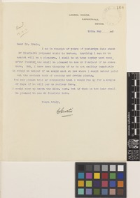 Letter from C.[Charles] Curtis to Sir David Prain; from Laurel House, Barnstaple, Devon, [England]; 13 May 1911; one page letter comprising one image; folio 104