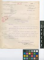 Letter from The Booth Steamship Company Limited to Sir David Prain; from Tower Building, Liverpool; 25 Mar 1916; one page letter comprising one image; folio 155
