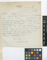 Letter from Sir Arthur William Hill to [Thomas Ford] Chipp; from Vancouver, British Columbia, [Canada]; 17 Sep 1926; one page letter comprising one image; folio 18