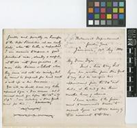 Letter from D.[Daniel] Morris to Sir William Thiselton-Dyer; from Botanical Department, Gordon Town, Jamaica; 12 Aug 1884; seven page letter comprising four images; folios 837 - 838