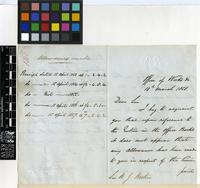 Letter from H. R. Crozier to Sir William Jackson Hooker; from Office of Works, Whitehall Place, London; 10 Mar 1858; four page letter comprising of two images; folio 140