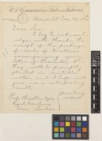Letter from Spencer F.[Fullerton] Baird to Sir William Thiselton-Dyer; from US Commission of Fish and Fisheries, Washington, D.C., [United States of America]; 24 Dec 1886; one page letter comprising one image; folio 32
