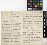 Letter from Henry Harold Welch Pearson to Sir Arthur Hill; from Wickhambrook, Suffolk, England; 25 Sep 1909; four page letter comprising two images; folio 427