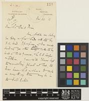 Letter from A.K.[Arthur Kilpin] Bulley to Sir David Prain; from Ness, Neston, Cheshire, [England]; 23 Dec 1913; two page letter comprising two images; folio 111