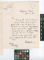 Letter from J.H.[John Hinchley] Hart to Sir William Thiselton-Dyer; from Royal Botanic Gardens, Trinidad; 14 Apr 1892; one page letter comprising one image; folio 263