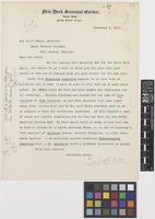 Letter from Mrs Elizabeth G.[Gertrude] Britton to Sir David Prain; from New York Botanical Garden, Bronx Park, New York City, [United States of America]; 4 Feb 1914; one page letter comprising one image; folio 56