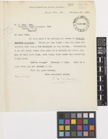 Letter from E.H.[Ernest Henry] Wilson to William Jackson Bean; from Arnold Arboretum, Harvard University, Jamaica Plain, Massachusetts, [United States of America]; 27 Oct 1922; one page letter comprising one image; folio 227