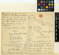 Letter from C. E. F. Allen to Sir David Prain; from Forester's Office, Victoria Falls, North Western Rhodesia; 17 Feb 1906; two page letter comprising one image; folio 290
