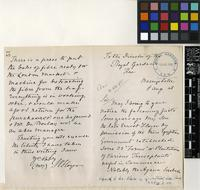 Letter from Mrs. S.V. Floyer to Sir David Prain; from Basingstoke; 8 Aug 1908; four page letter comprising two images; folio 51