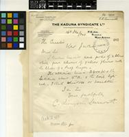 Letter from C. Livingstone Learmouth to the Royal Botanic Gardens, Kew; from P.O. Jos, Nigeria, West Africa; 16 Dec 1924; one page letter comprising one image; folio 482
