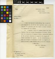Letter from R.J. Wilkinson, Governor, to Lt. Colonel W. Dixon, Acting Governor, St Helena; from Government House, Sierra Leone; 21 Dec 1918; one page letter comprising one image; folio 552
