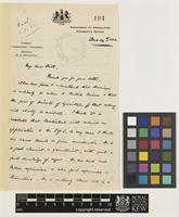 Letter from F.A.[Frank Arthur] Stockdale to Sir Arthur William Hill; from Department of Agriculture, Peradeniya, Ceylon [Sri Lanka]; 24 June 1922; two page letter comprising two images; folio 104