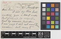 Letter from C.R. Bashett to the Royal Botanic Gardens, Kew; from Birstwith Vicarage, via Leeds, [England]; 27 May 1905; two page item comprising two images; folio 238
