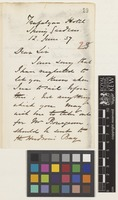 Letter from Thomas [Wright] Blakiston to Sir William Jackson Hooker; from Trafalgar Hotel, Spring Gardens, [London, England]; 12 June 1857; two page letter comprising two images; folio 23