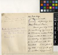 Letter from Edwin C. Foot to Sir David Prain; from Bournemouth; 28 Jan 1907; two page letter comprising two images; folio 52
