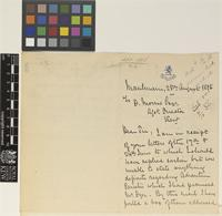 Letter from G. Peché to Daniel Morris; from Moulmein [Mawlamyine, Burma]; 28 Aug 1886; three page letter comprising two images; folio 226 Burma