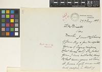 Letter from G.[George] Marshall Woodrow to Sir William Thiselton-Dyer; from Euston Hotel, London; 29 May 1899; two page letter comprising two images; folio 188