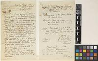 Letter and list from Robert Ellis to Sir Joseph Dalton Hooker; from Kilar, Pangi Valley, Chamba State, [India]; 1 Oct 1879; three page item comprising two images; folios 181 - 182 NWI