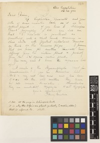 Letter from I.[Isaac] Henry Burkill to Sir David Prain; from Abor Expedition, [India]; 26 Feb 1912; one page letter comprising one image; folio 219