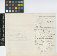 Letter from G.A. [George Albert] Boulenger to The Royal Botanic Gardens, Kew; from The British Museum (Natural History), Cromwell Road, London; 7 Aug 1890; one page letter comprising one image; folio 11