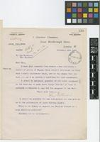 Letter from John Pullman to Sir David Prain; from 1 Aberdeen Chambers, Great Marlborough Street, London; 12 Nov 1912; one page letter comprising one image; folio 133